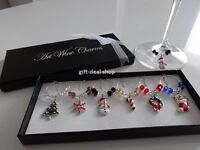 SALE!  1 Box 6 Mixed Christmas Wine Glass Charms Table Decorations!