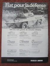 9/1982 PUB FIAT IVECO VEHICULE BLINDE RECONNAISSANCE 4X4 FIAT 6616 FRENCH AD