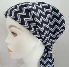 Black White Chevron Chemo Cancer Hair Loss Turban Hat Alopecia Cotton Head Scarf