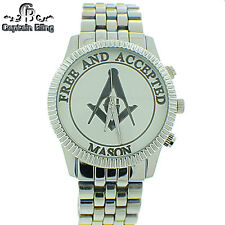 Men's Masonic Elegant Dress  Watch ICE NATION /CAPTAIN BLING # WM611 Brand New