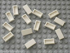 15 x LEGO white tile 1x2 ref 3069b / Set 10189 10196 10185 10214 10211 8037 7679