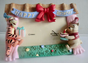 DISNEY WINNIE THE POOH AND TIGGER 3D FIGURES ON BIRTHDAY PICTURE FRAME