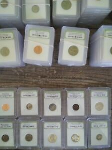 Huge Crazy Mixture 5 Slabbed Coins BU Proof Circ. * CHARITY *