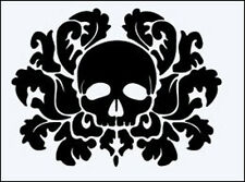 DAMASK SKULL 190m DURABLE RE USEABLE MYLAR STENCIL - A5 - IMAGE 16 x 12.5cm