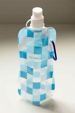 Folding Flat Water Bottle Sports Running drink Bottle with clip-on Blue