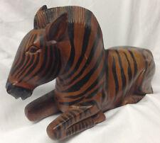 "Arthur Court Designs 1979 Wood Carved Zebra Figurine 12"" Long Horse Black Stripe"