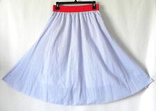 LuLaRoe Skirt Flared Striped 100% Cotton Red Elastic Waist Band Size S