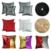 "Damask Jacquard Cushion Covers OR Filled Cushions 18x18"" Sofa Pillows Round"