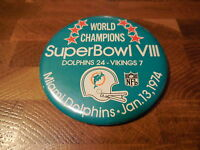 SUPER BOWL VIII PINBACK BUTTON - Miami Dolphins vs Minnesota Vikings (3.5-inch)
