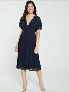 Frock And Frill Grace EmbellishedPleated Midi Dress  Navy Size 10 New With Tags