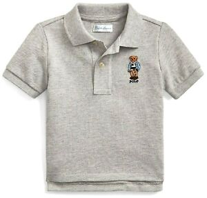 RALPH LAUREN baby boy BEAR Embroidery ss POLO SHIRT 9 12 18 24M Grey Heather