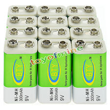 12x 9V 9 Volt 300mAh BTY Green Ni-Mh Rechargeable Battery