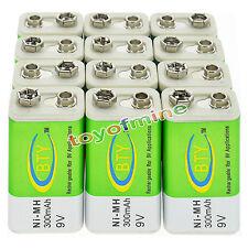 12x 9V 9 Volt 300mAh BTY verde ricaricabile Ni-MH Batteria