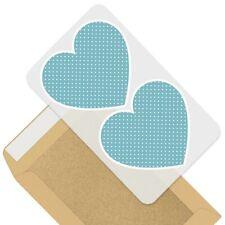 2 x Heart Stickers 10 cm - Blue White Dotty Pattern Polka Dots  #44402