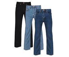 "Mens Regular Fit Straight Leg Jeans 30""-50"" Waist Dark Blue, Black"