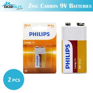 2PCS GENUINE Philips Long Life Zinc Carbon 9V Battery Factory Sealed BULK LOT