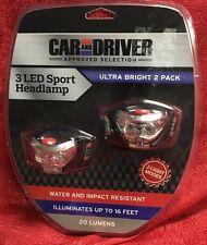 Set Of 2 Car & Driver 3 LED Headlamps Ultra Bright Rotates 90 Degrees New