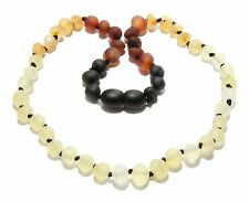 Genuine Raw Baltic Amber Baby Necklace Rainbow Reverse Beads 12.2 - 13 in