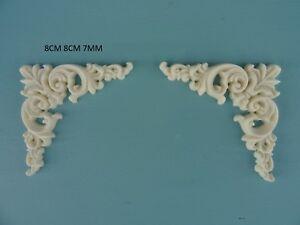 Decorative corner scrolls x 2 onlay resin furniture moulding applique Z10