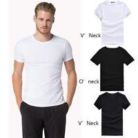 Men's V Neck O Neck Cotton T-shirt Solid Short Sleeve Casual Tee Black/White