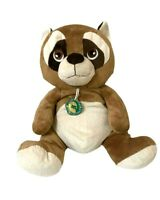 Raccoon Brown Soft Plush Toy Bottle 100% Recycled Pet Tag 39cm Seated