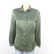 Hugo Boss blusa blouse seda Silk caqui verde oliva talla 36 S (de31)