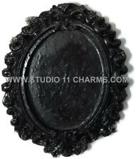 12pcs Resin Frame Setting Bezel Victorian Oval fit 40x30 cameo Black 1.6