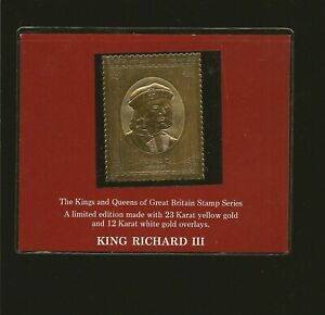 Great Britain Kings & Queens 23Karat Gold Foil Stamp King Richard III Stamp