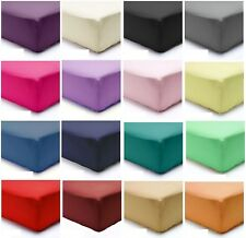 Poly Cotton Plain Dyed Fitted Sheets & Pillow Cases in Single Double King S-King