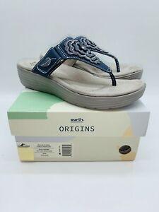 Earth Origins Women's Leather Thong Sandals- Willow Glenda Navy