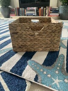 """Lot Of 2 Seville Classics Foldable Handwoven Water Hyacinth Square Basket 13.15"""""""