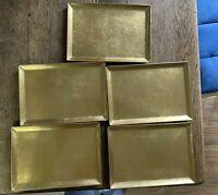VINTAGE OTAGIRI JAPAN OMC GOLD TRAYS SET OF 5 CHRISTMAS APPETIZER BARWARE