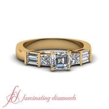 1 Ct Princess Cut & Baguette Diamond Yellow Gold Engagement Ring GIA Certified