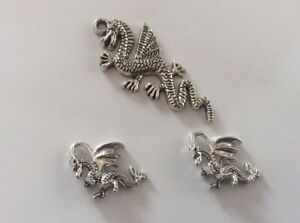 Antique Silver Charms, Dragon Pendant/Charm Set, 3pcs, Jewellery Making,