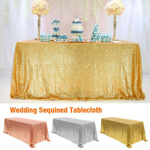 NEW Rectangle Sequin Glitter Tablecloth Sparkly Table Cloth Cover Wedding Party