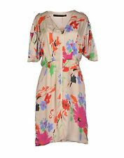 FRANCESCO SCOGNAMIGLIO Formal Dress $364.00 Size 8 Beige NEW V Neckline Silk NWT