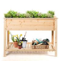 "Raised Garden Planter Bed Box Wood Elevated Flower Stand w/Shelf 48""x22""x35.5"""