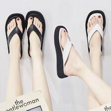 Mujeres Plataforma Talón Mediados Zapatillas Flip Flop Puntera Abierta Plana Informal De Playa Zapatos Talla
