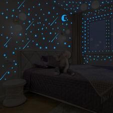 DIY Blue Green Stars Moon Luminous Art Vinyl Wall Sticker Decal Mural Home Decor