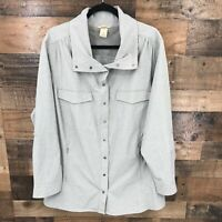 Duluth Women Gray Stripe Snap Front Vented Back Long Sleeve Shirt Jacket Shacket
