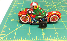 Vintage pull back Tin Toy Motorcycle made in Japan - Red Bike Green Suit, NEW!!