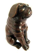 """Y4398 - 10 Years OLD 2"""" Collectible Ebony Ironwood Netsuke - Lovely Dog"""