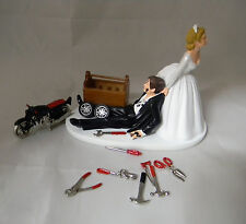 Wedding Reception Motorcycle Biker Mechanic Tools Grease Cake Topper Shop Garage