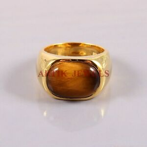 Natural Tiger Eye Gemstone with Gold Plated 925 Sterling Silver Men's Ring #2751