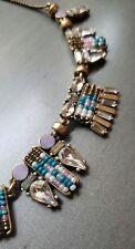 J.Crew Necklace Statement Gold Pink Blue Rhinestone Crystal Art Deco EXCELLENT