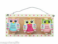 Twit Twoo Owl Wooden 3 Peg Hanging Memo Note Holder Kitchen Hallway Cute Gift