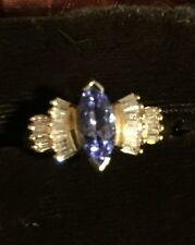 Marquise-Tanzanite And Diamond 14K Gold Ring-Size 6