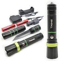3in1 Tactical Flashlight w/ Knife Zoomable LED Survival Torch Home Outdoor