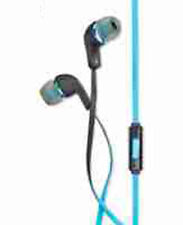 Polaroid Tangle-free Earbuds With In-line Mic, Blue Black
