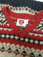 Vintage I'm a Plum Ragg Fair Isle Wool Sweater Oatmeal Black Red USA Made Sz L